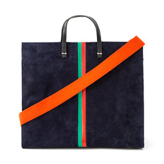 Navy Suede with Evergreen and Cherry Red Desert Stripes Simple Tote with Poppy Shoulder Strap