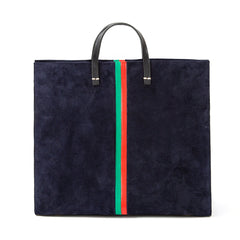 Navy Suede with Evergreen and Cherry Red Desert Stripes Simple Tote - Front