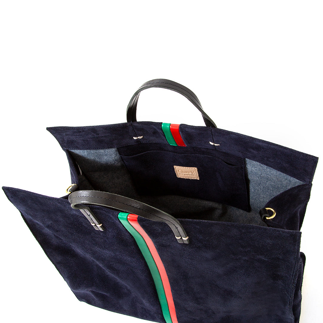 Navy Suede with Evergreen and Cherry Red Desert Stripes Simple Tote - Interior