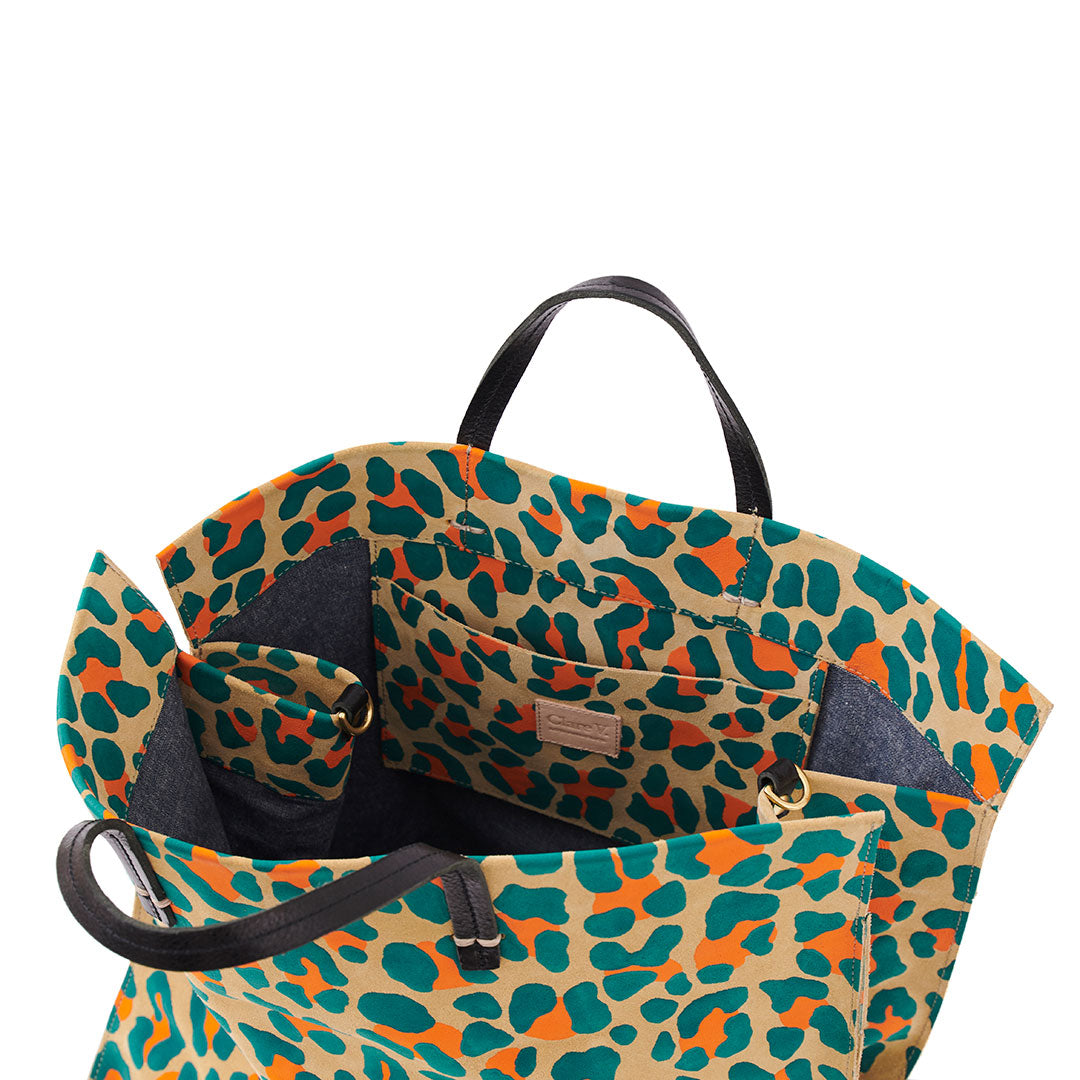 Neon Cat Suede Simple Tote - Interior