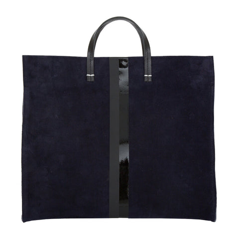 Navy-Suede-MatteGlossy-Black-Stripes-Simple-Tote
