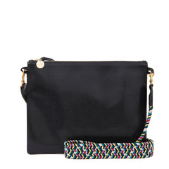 Black Lizard Sac Bretelle with Multi Webbing Crossbody Strap