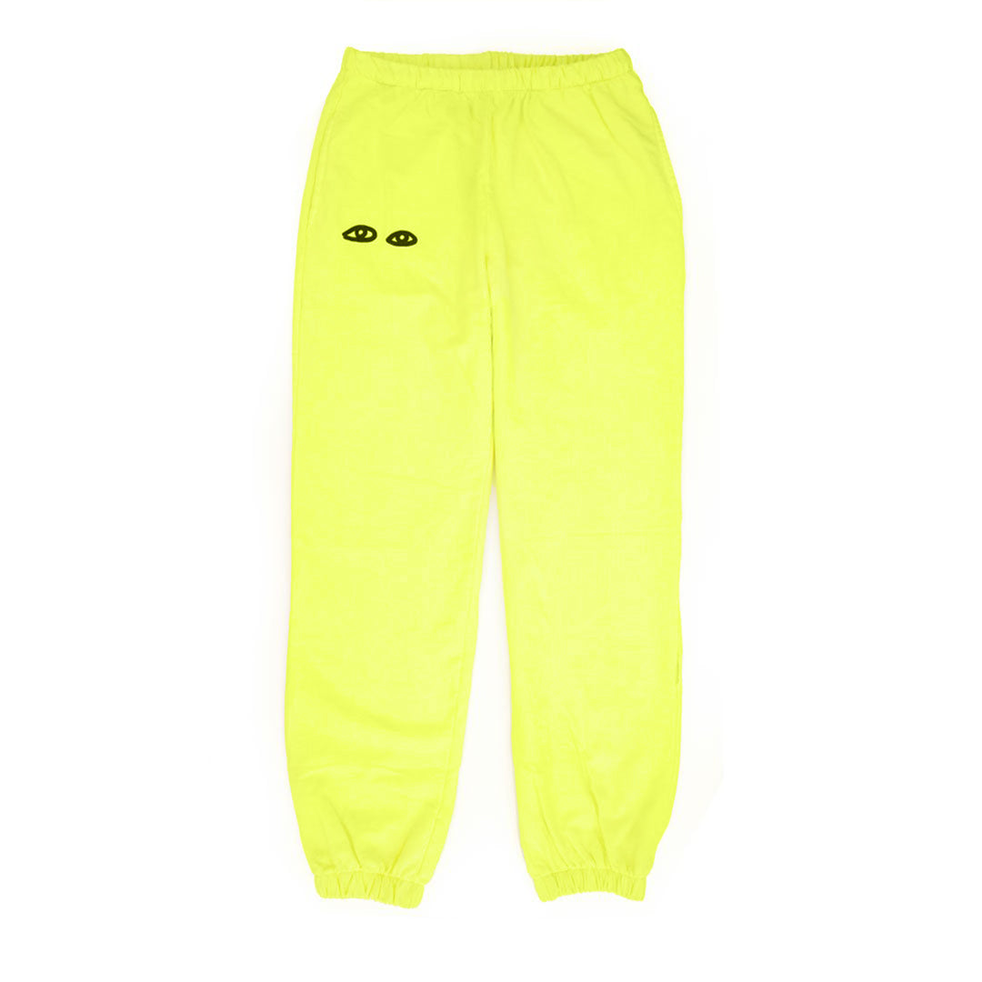 Neon Yellow with Black Eyes Sweatpants - Front