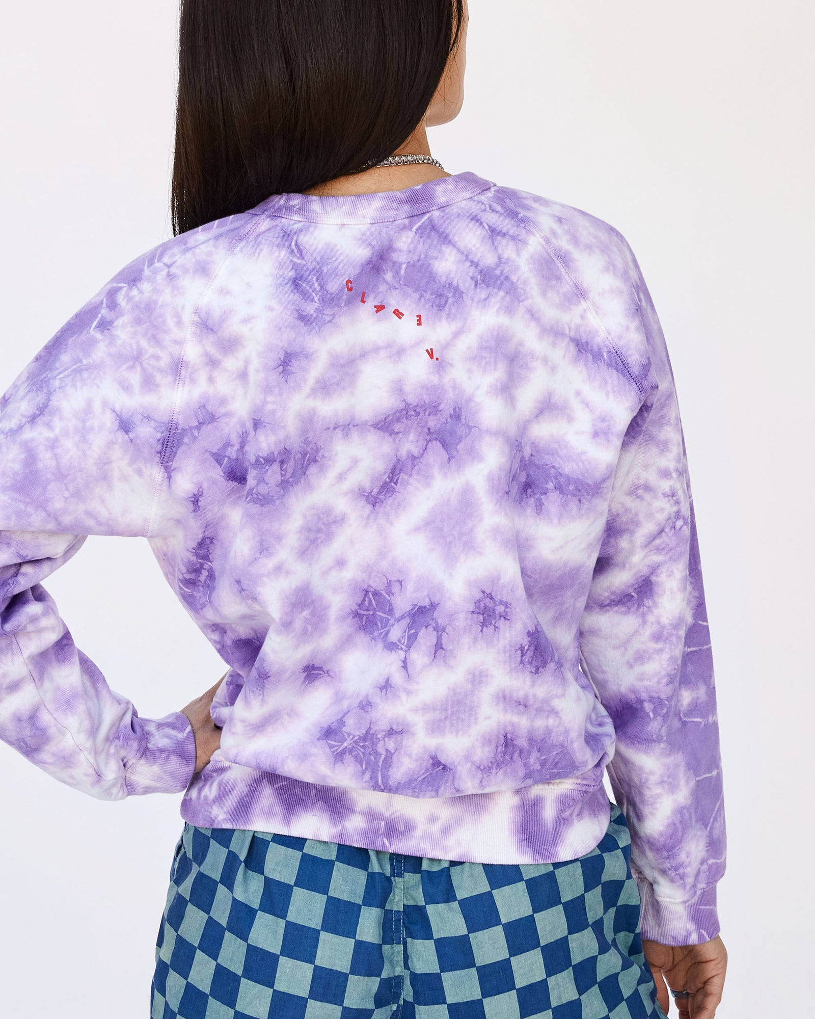 Violet Cloud Tie-Dye with Poppy Lips Sweatshirt on Ami - Back