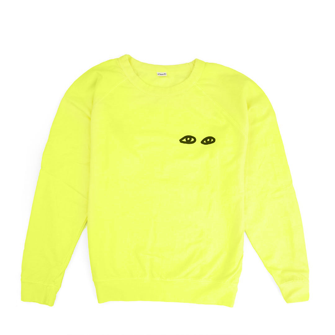 Neon Yellow with Black Eyes Sweatshirt - Front