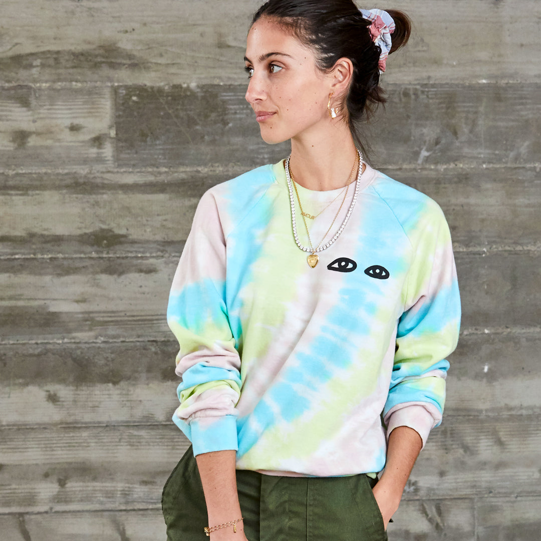 Pastel Tie Dye with Eyes Sweatshirt