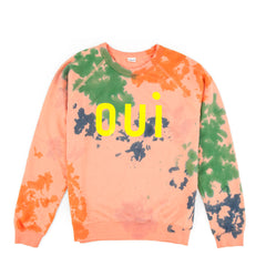 Salmon with Splash Tie Dye and Oui Print Sweatshirt