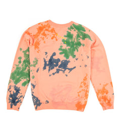 Salmon with Splash Tie Dye and Oui Print Sweatshirt - Back