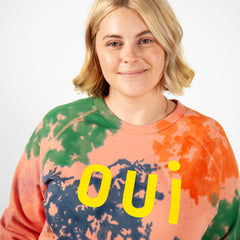 Salmon with Splash Tie Dye and Oui Print Sweatshirt on Brooke