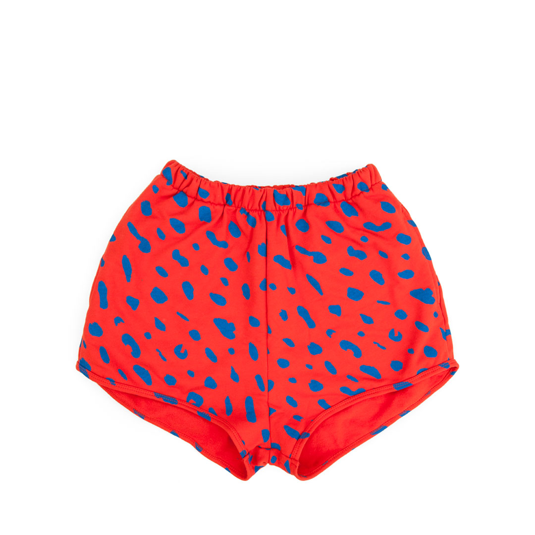 Sweatshorts in Red with Cobalt Jaguar - Front