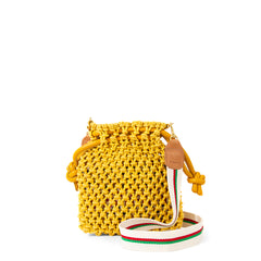 Yellow Top Handle Sandy with Natural with Green and Red Stripes Cotton Webbing Crossbody Strap