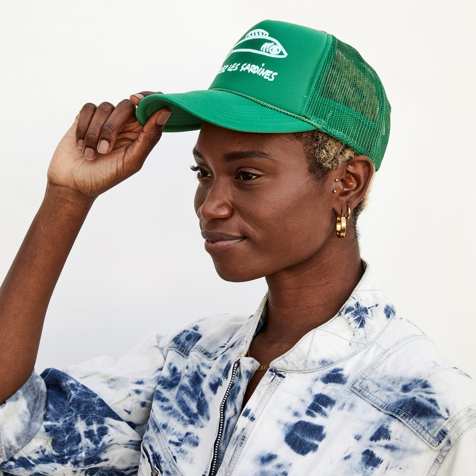 Green with Pale Blue Liberez Les Sardines Trucker Hat on Kim