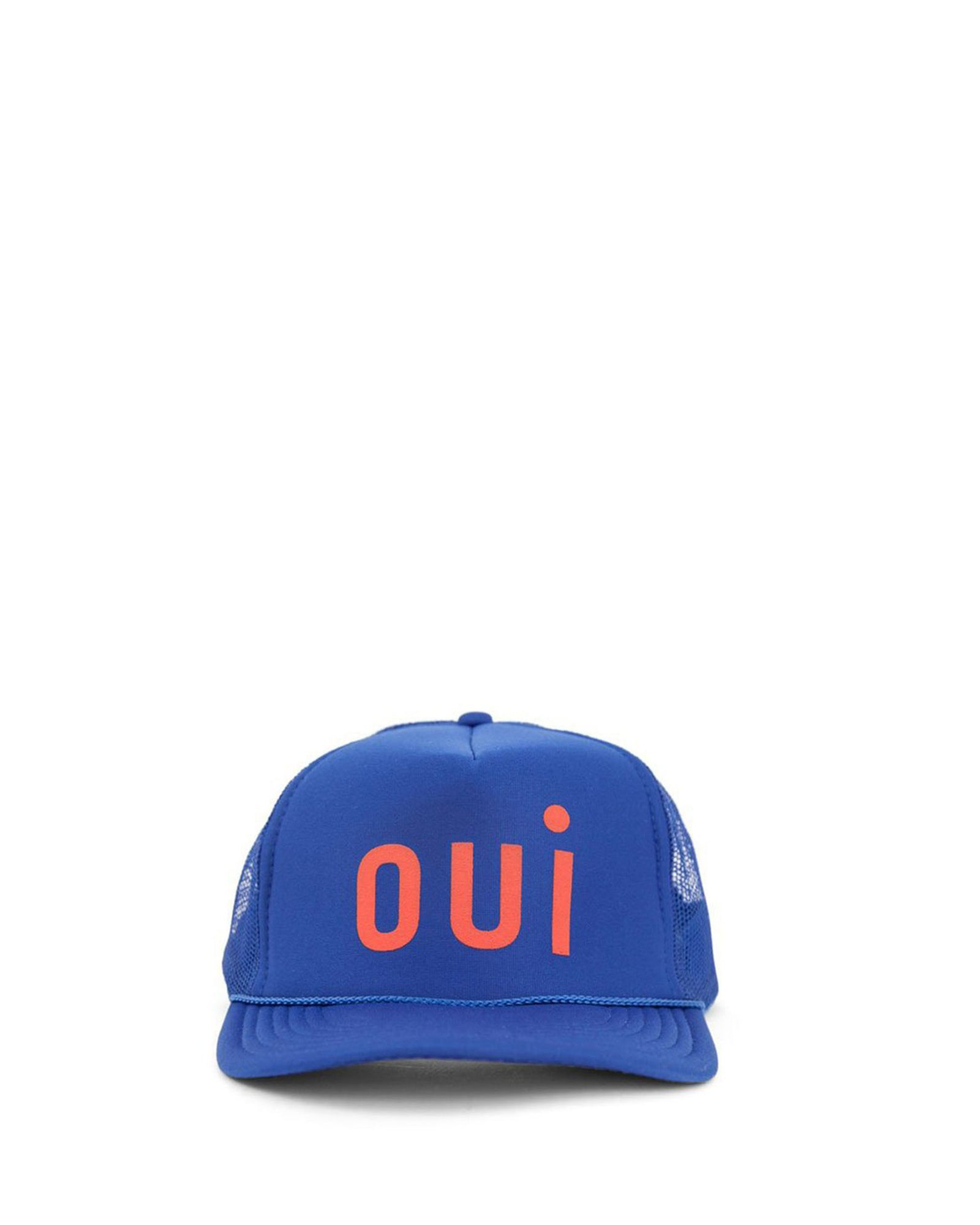 Cobalt with Poppy Oui Trucker Hat - Front