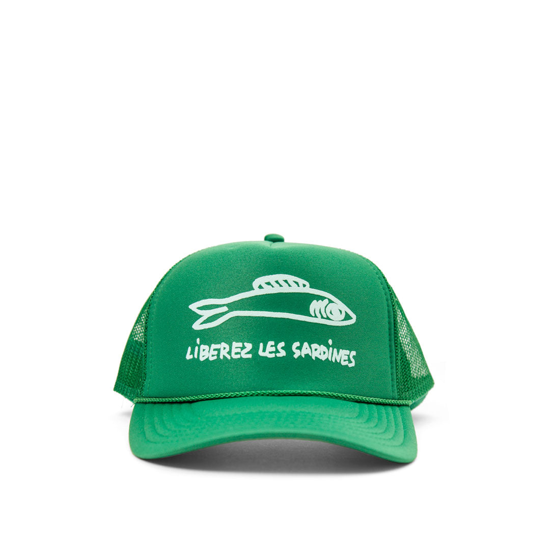 Green with Pale Blue Liberez Les Sardines Trucker Hat - Front