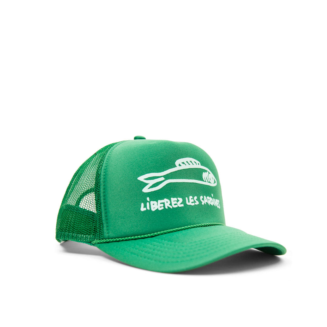 Green with Pale Blue Liberez Les Sardines Trucker Hat - Side