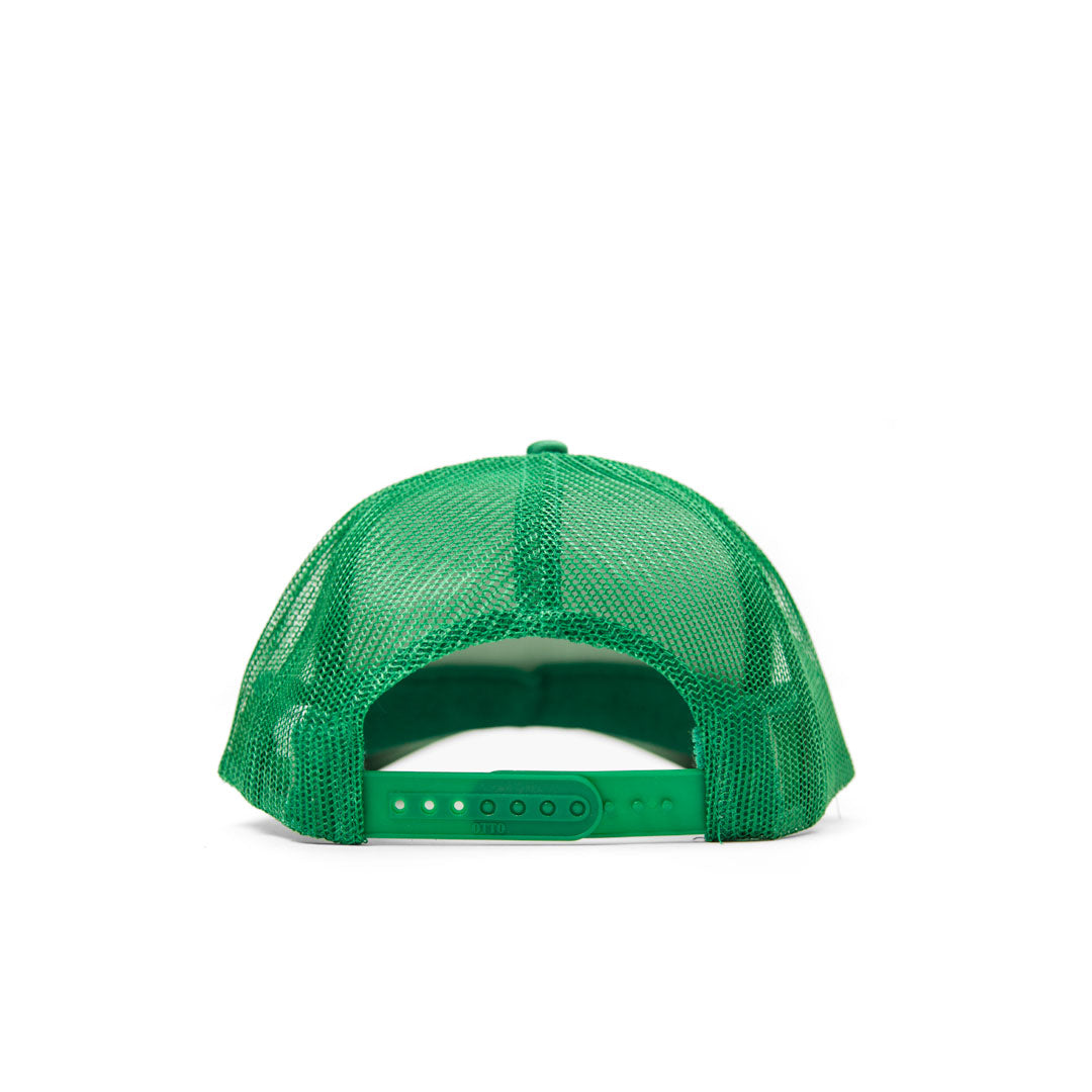 Green with Pale Blue Liberez Les Sardines Trucker Hat - Back