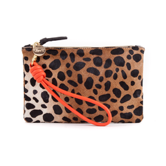 Poppy Cord Wristlet with Leopard Wallet Clutch