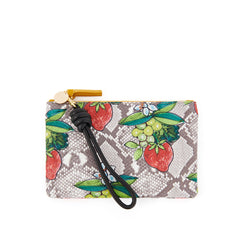 Strawberry Snake Wallet Clutch with Black Cord Wristlet