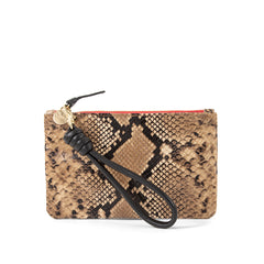 Tan Spring Snake Wallet Clutch with Black Cord Wristlet