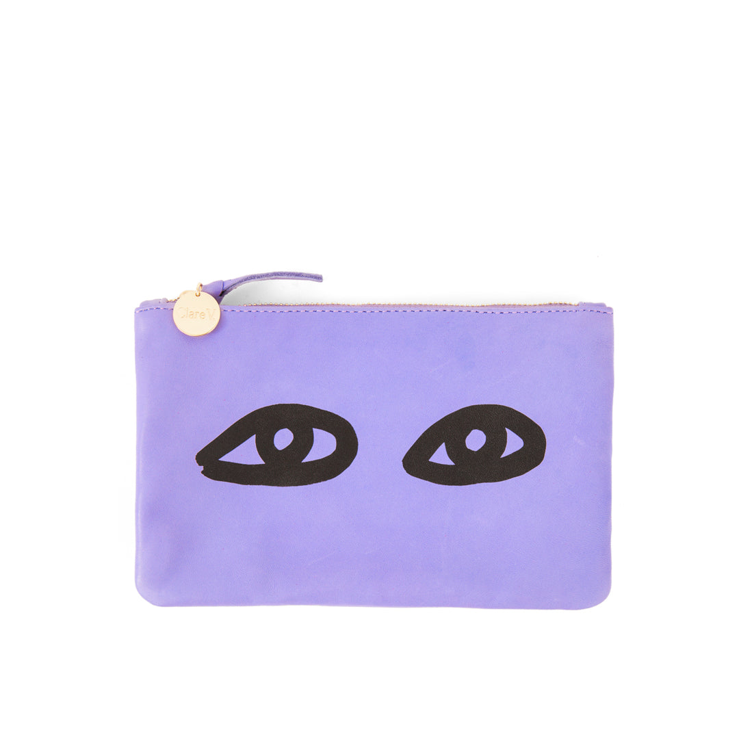 Violet Italian Nappa with Eyes Wallet Clutch