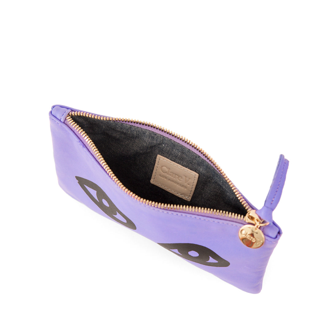Violet Italian Nappa with Eyes Wallet Clutch - Interior