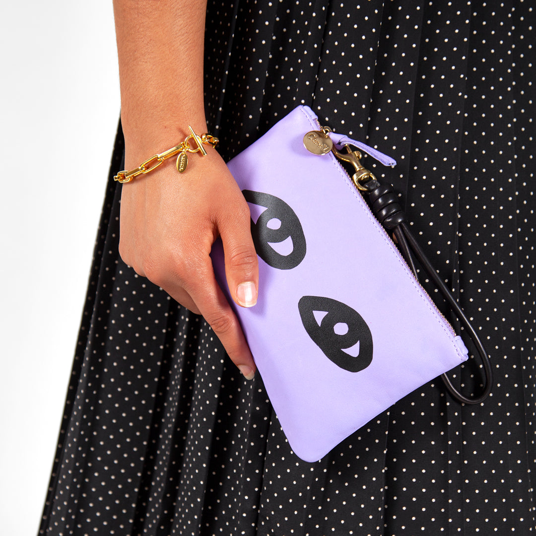 Violet Italian Nappa with Eyes Wallet Clutch on Lyauna