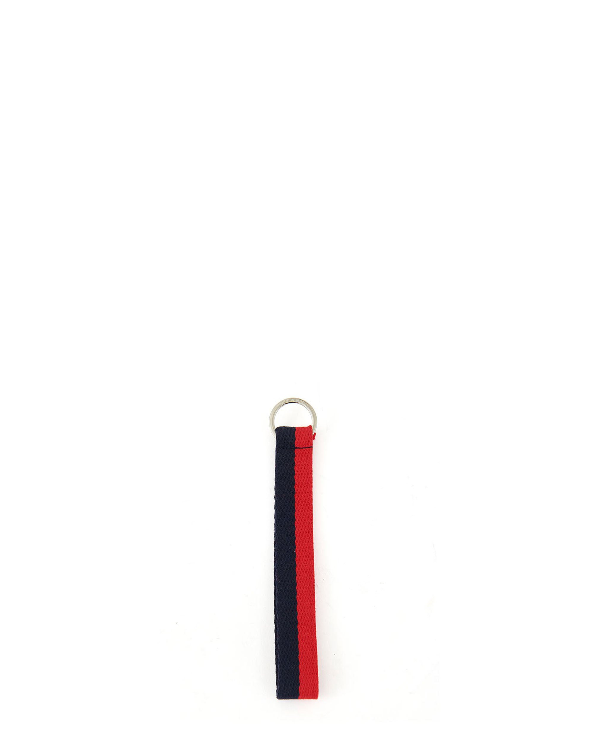 Navy and Red Cotton Webbing Keychain - Front