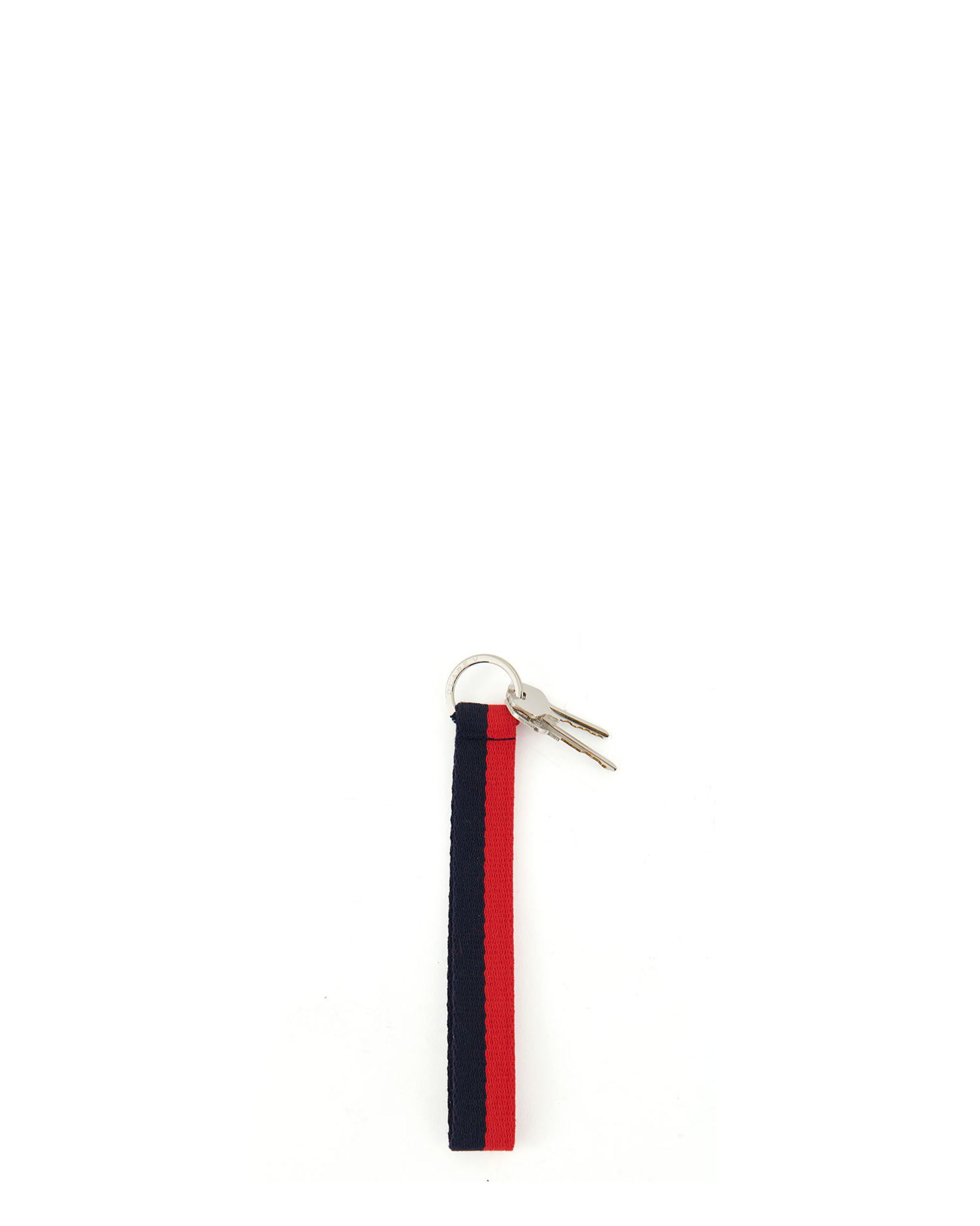 Navy and Red Cotton Webbing Keychain with Keys