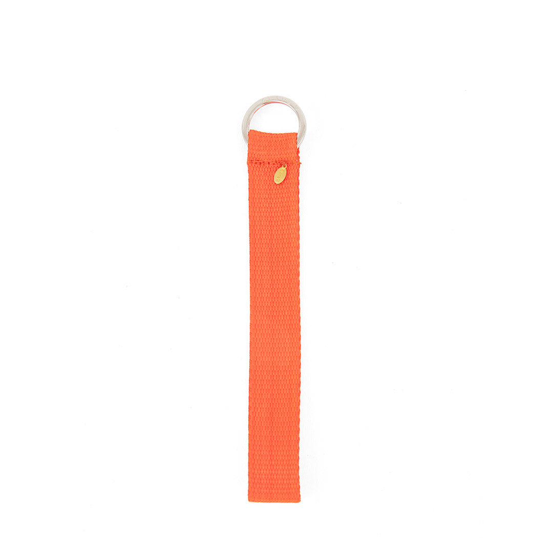 Neon Orange Nylon Webbing Keychain - Back