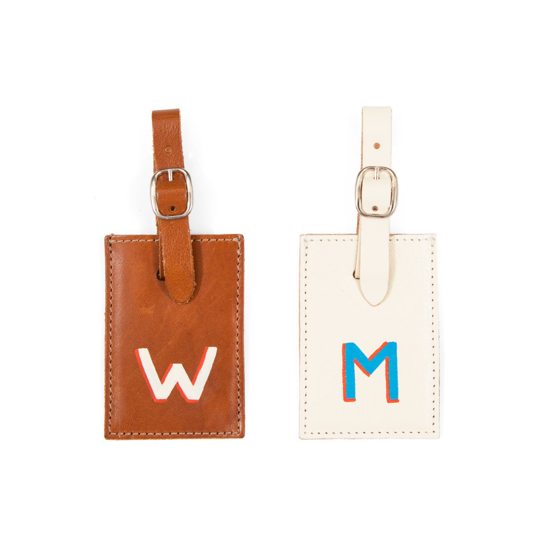 White and Miel Luggage Tags with Hand-Painted Monogram