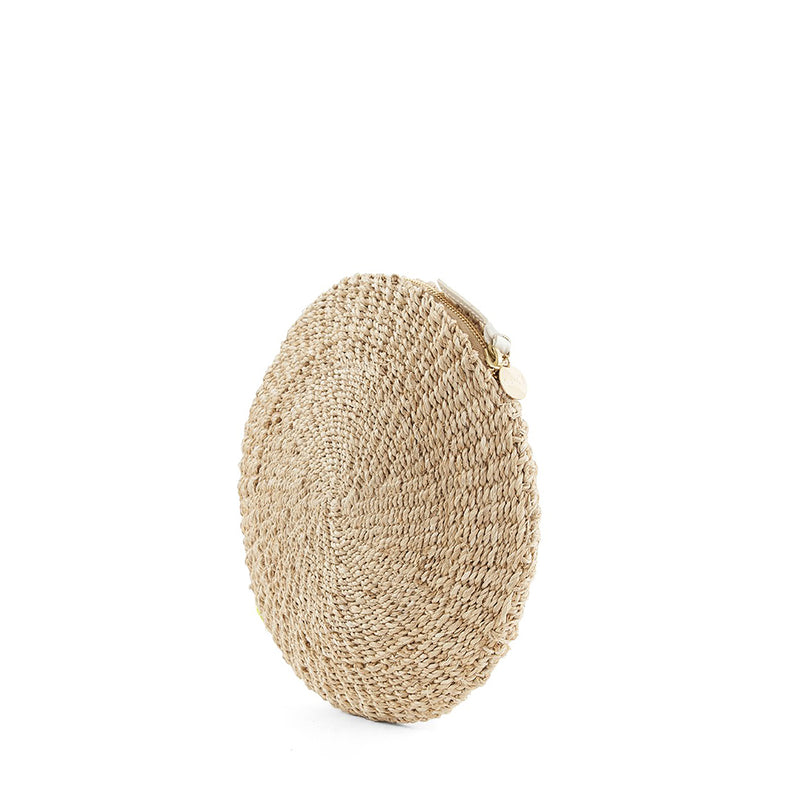 Woven Circle Clutch with Webbing Wristlet
