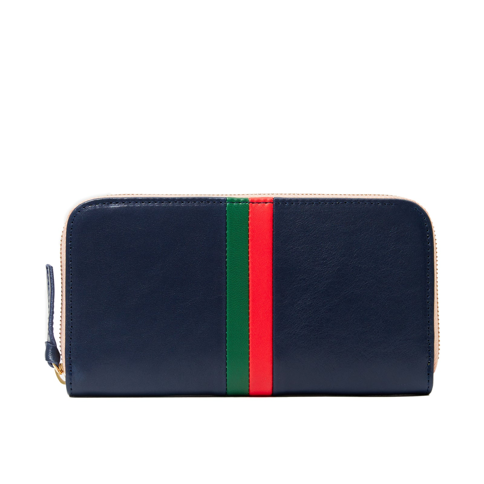 Navy Rustic with Fern and Lipstick Desert Stripes Zip Wallet