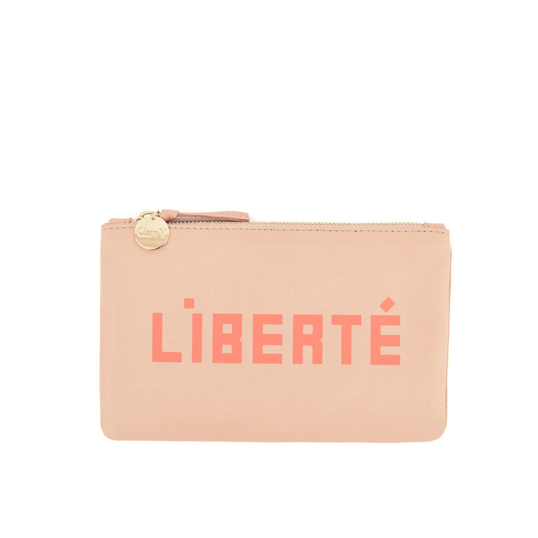 Pale Pink with Liberté and Égalité Wallet Clutch - Front