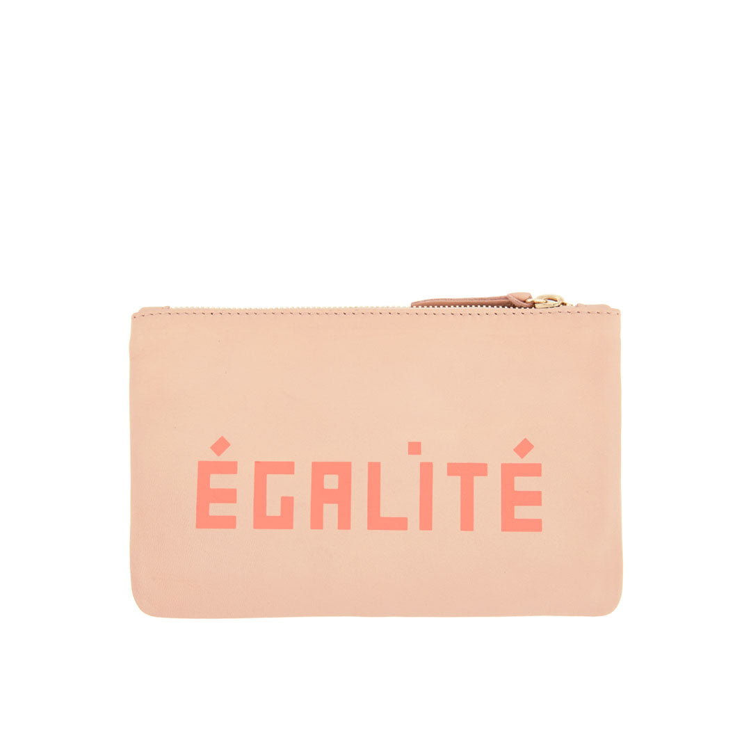 Pale Pink with Liberté and Égalité Wallet Clutch - Back