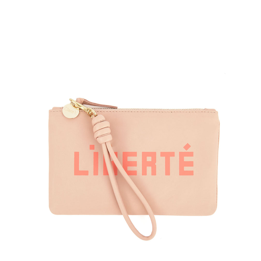 Pale Pink with Liberté and Égalité Wallet Clutch with Cord Wristlet