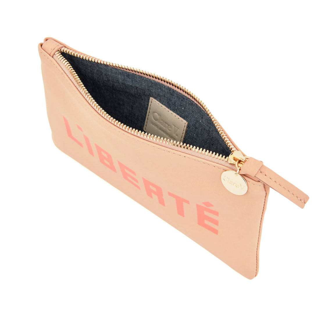 Pale Pink with Liberté and Égalité Wallet Clutch - Interior