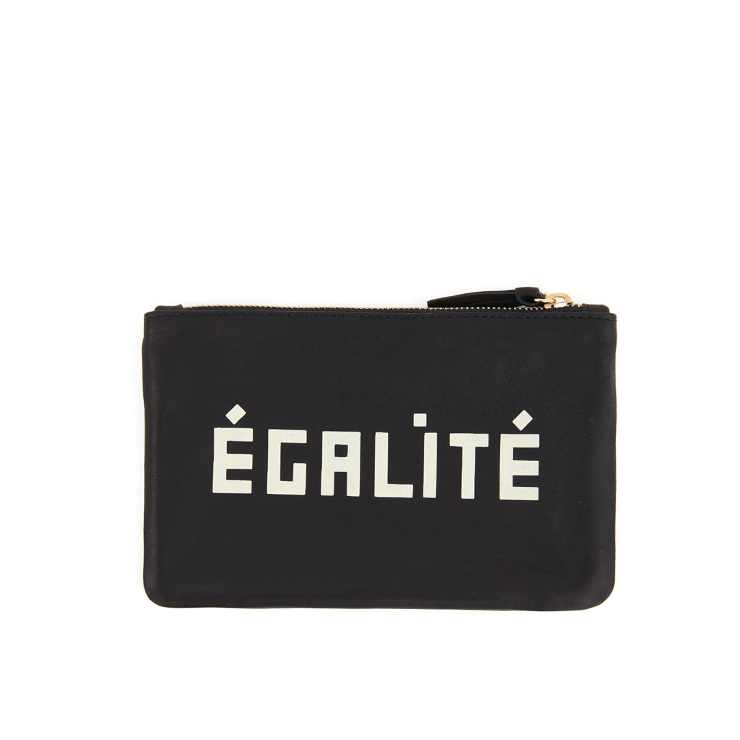Black with Liberté and Égalité Wallet Clutch - Back