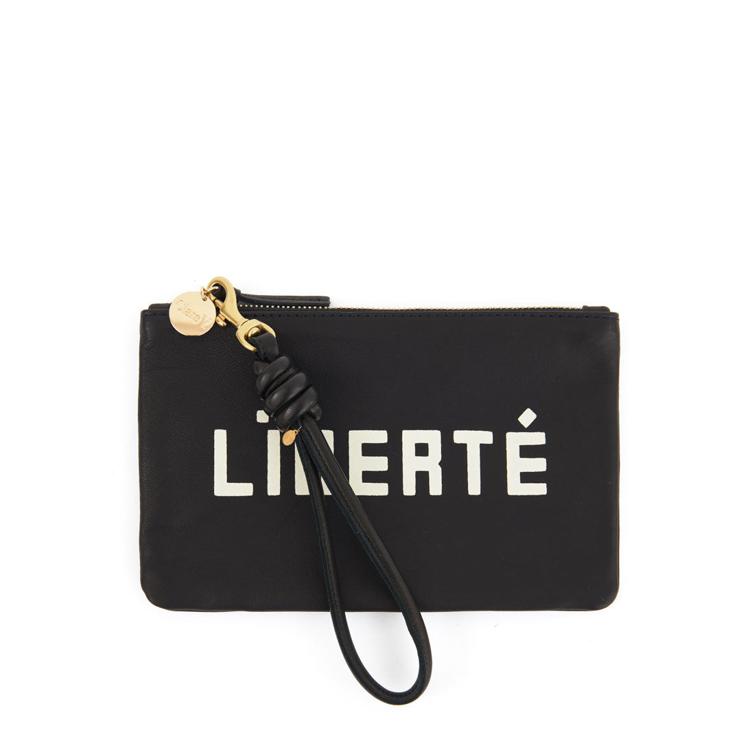 Black with Liberté and Égalité Wallet Clutch  with Cord Wristlet