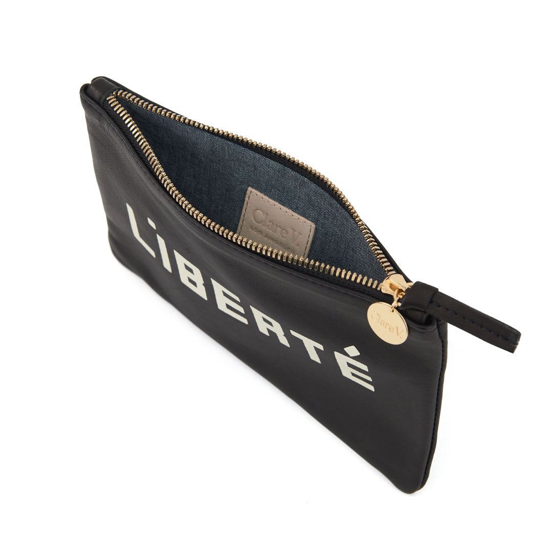 Black with Liberté and Égalité Wallet Clutch - Interior