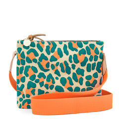 Double Sac Bretelle in Neon Cat Suede with Neon Orange Cotton Crossbody Strap