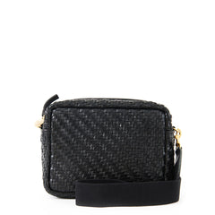 Black Woven Zig Zag Midi Sac with Black Webbing Crossbody Strap