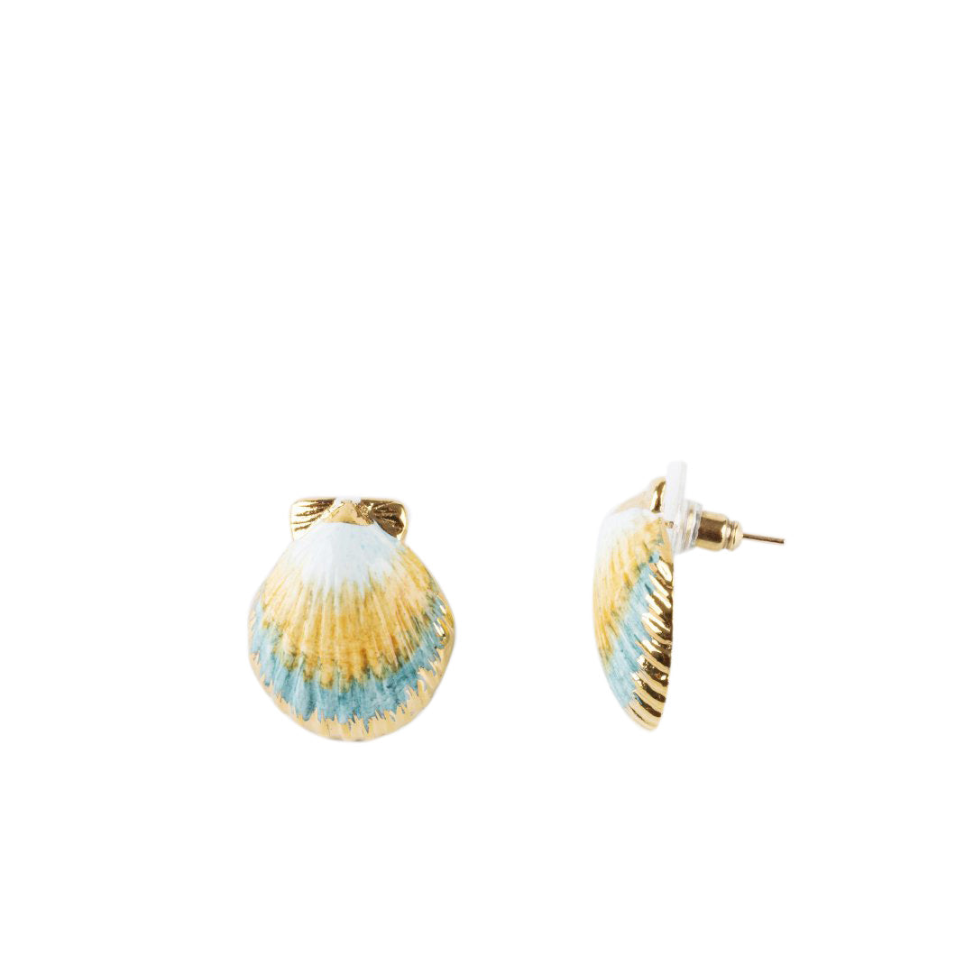 Nach Bijoux Blue and Gold Shell Earrings
