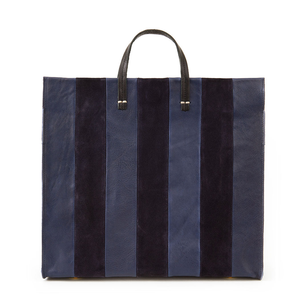 Navy Rustic & Suede Georgia Stripes Simple Tote - Front