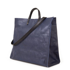 Navy Rustic & Suede Georgia Stripes Simple Tote - Back