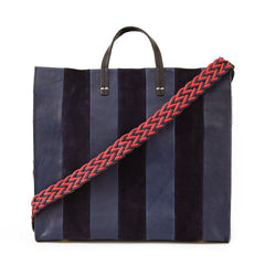 Navy Rustic & Suede Georgia Stripes Simple Tote with Navy and Red Braided Shoulder Strap