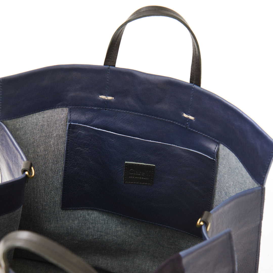 Navy Rustic & Suede Georgia Stripes Simple Tote - Interior