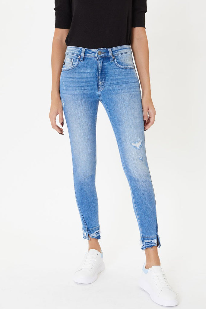 Mid rise distressed kancan jeans KC9257M