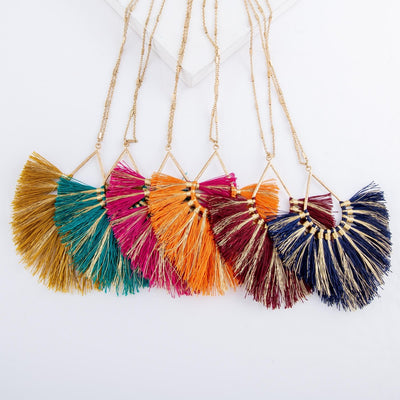 Long metallic stripe fringe teardrop necklace
