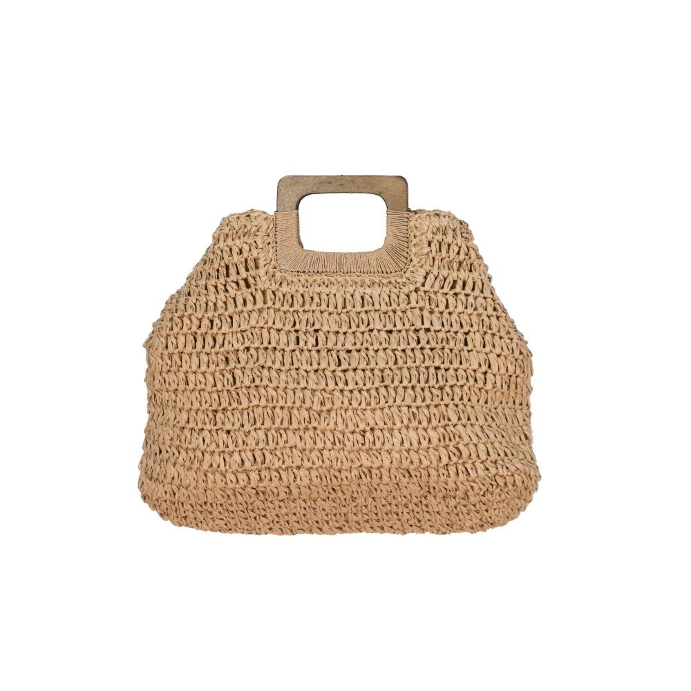 Rectangular Straw Bag Featuring Wooden Handles