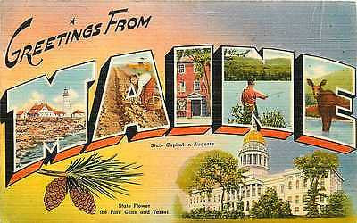 1940s Large Letter Greetings From Maine ME Antique Vintage Linen Postcard